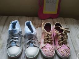 2 pares de ALL star infantil Frozen e princesa número  29