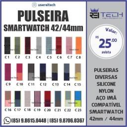 Pulseira SmartWatch 42/44mm Nylon Linha App Watch T500 Iwo W26 W16 T5 série 6 5 4 fk78