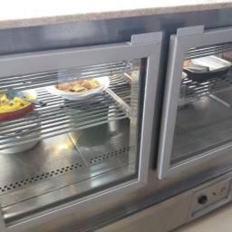Balcão expositor quente para padarias e restaurantes