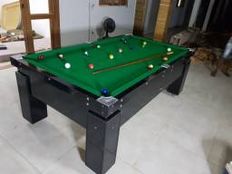 Título do anúncio: Mesa de Bilhar Preta Bl Gaveta Tecido Verde Modelo KPQ4114