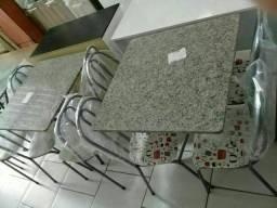 Mesa granito 70x70 cm com 4 cadeiras novas