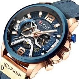 Relógio de Luxo Importado Curren Azul Pronta Entrega