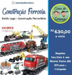 1078 peças Construção Ferrovia estilo Lego - lego city 60098
