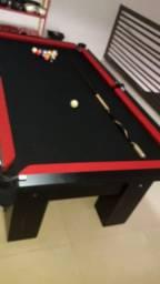 Mesa Charme de Bilhar e Jantar Cor Preta Tecido Preto e Borda Vermelha ZP32
