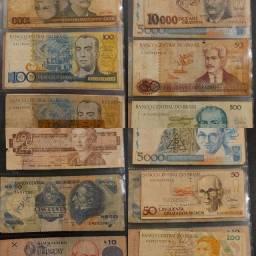Coleção de notas antigas - 27 notas (24 nacionais e 3 internacionais)