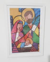 Quadro Decorativo Romero Britto Sagrada Família Jesus 34x46