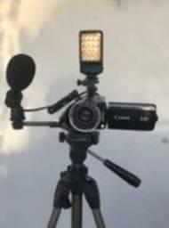 Kit Home Studio - Handycam Canon Vixia HF21 + Lentes + Microfone + Luz de Led