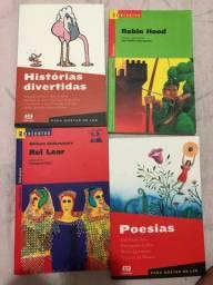 Livros historia divertida, robin hood, rei lear, poesias