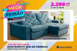 Sofa retrátil e reclinável, 2,50, molas ensacadas.