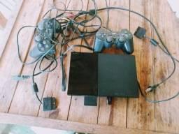 Playstation 2 duas manetes memory card 250reais