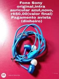 Fone Sony original,auricular azul,entrada P2,novo,r$50,00(valor final)