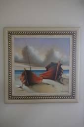 Quadro Barcos / em MDF Branco 91 cm x 91 cm x 3 cm