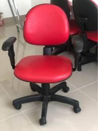 Cadeira para escritório, couro ecológico vermelha