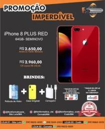 IPhone 8 plus 64gb red semi novo