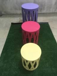Trio de mesas cilindro provençal