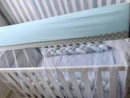 Vendo kit berço trança poá azul bebê