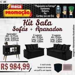 Título do anúncio: Kit sala sofás + aparador de brinde um Puff e um tapete