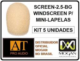 Espuma p/ microfone Protetor de Vento Mini Headset Mogan Screen-2.5 bg 5 unidades