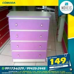 Ganhe nichos p/ decoração! Comoda 4 gavetas 100% MDF apenas R$ 149,00