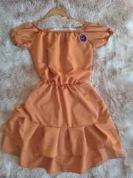 Vestido crepe seda tamanho único