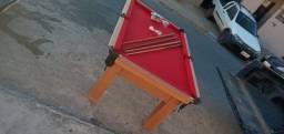 Mesa Tentação MDF Cor Cerejeira Tecido Vermelho Mod. TZPA9211