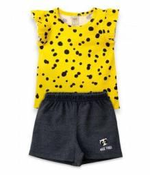 Conjunto Infantil Feminino Amarelo Panda