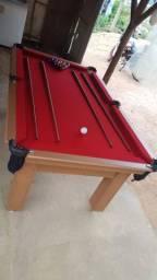 Mesa Tentação de Bilhar Cor Cerejeira Tecido Vermelho Mod. DPAS7333