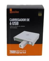 Carregador Com 6 Portas USB + Power Bank 2600Mah Basike