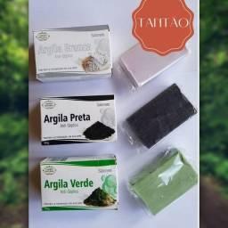 kit C/3 sabonetes de Argila 90g cada - 1 Argila Branca 1 Argila Preta 1 Argila Verde