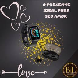 Kit dia dos namorados - Smartwatch D20 Y28 + Fone Bluetooth TWS Y30
