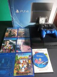 PS4 750GB com 7 jogos + PS Plus 3 meses.