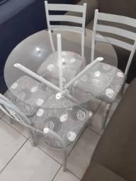 Conjunto de mesa c/4 cad vidro redondo 80x80 - pague na entrega