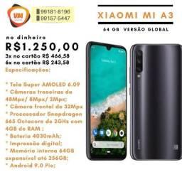 Celular Xiaomi Mi A3 Dual Sim 64 GB V. Global - Câmera 48 megapixels - entrega grátis