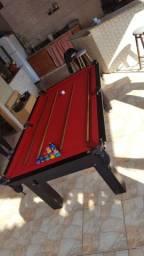 Mesa Tentação de Bilhar Cor Marrom Escuro Tecido Vermelho Mod. GINI3014