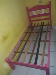 Cama de solteiro rosa+colchão