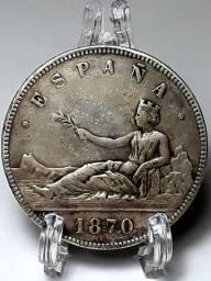 Moeda 5 pasetas 1870 Espanha prata