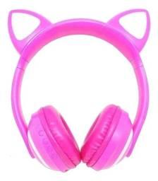 Fone Gatinho Bluetooth Infantil Led Headphone Luzes Pink Rosa