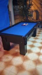 Mesa Charme Semi Cor Preta Tecido Azul Mod. WNUQ1184