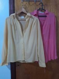 blusa social amarela e rosa