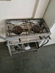 Fogão Industrial a gás, sem forno, 2 bocas.