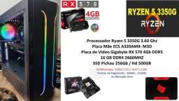 PC Gamer Ryzen 5 3350G 16GB RX 570 4Gb Completo !!!