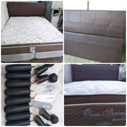 Cama Box Queen size Completa Bases + Colchão + cabeceira + Pés + Junções Só 1,100 !!
