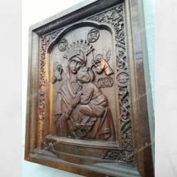 Quadro nossa Senhora do perpétuo Socorro entalhado em madeira