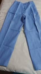Calça azul 100% linho Fama