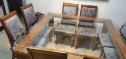 Vendo mesa de madeira/vidro