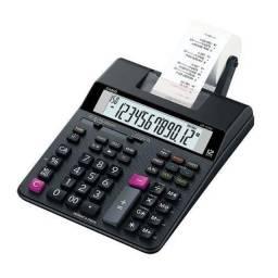 Calculadora De Mesa Com Impressão Hr-100rc Original Com Bobina CASIO Preta + Fonte Bivolt