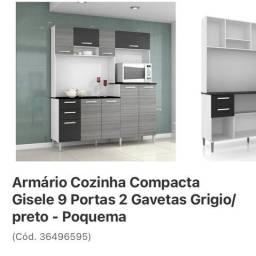 Armário Cozinha Compacta Gisele 9 Portas 2 Gavetas Grigio/Preto - Poquema