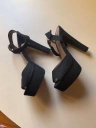 sandália meia pata camurça preta