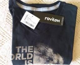 Camiseta infantil para meninos rovitex . preto reativ com desenho . número 12