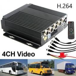 Dvr Automotivo 4 Canais + 4 Câmeras Ir Hd Sd H264 Ônibus Van
